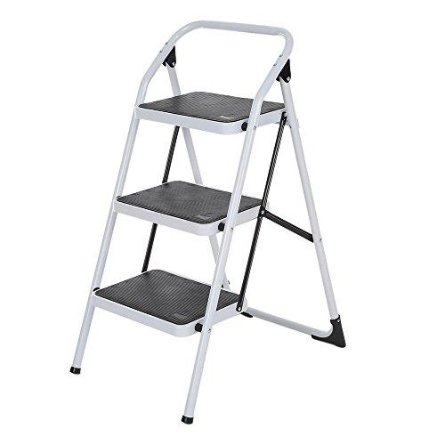 iKayaa Escalera Plegable de 3 Pasos con la Mano Marco Iron Grip Escalera Portátil de Aluminio Antideslizante Multiuso