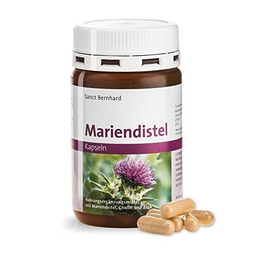 Sanct Bernhard Mariendistel-Kapseln mit 200 mg Mariendistel-Trockenextrakt (mind. 70% Silymarin) je Kapsel, mit Cholin und Zink - Inhalt 90 Kapseln für 3 Monate