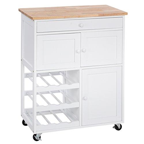 COSTWAY Küchenwagen Servierwagen Küchentrolley Beistellwagen Küchenregal Küchenschrank Rollwagen Weinregal Weinschrank Holz weiß