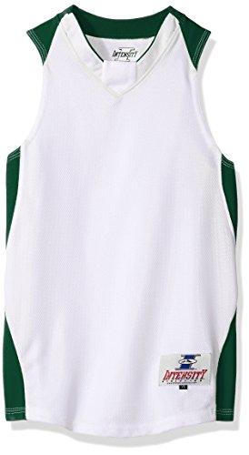 Intensität Jungen Jugend Diamant Basketball Jersey, Jungen, White/Dark Green -
