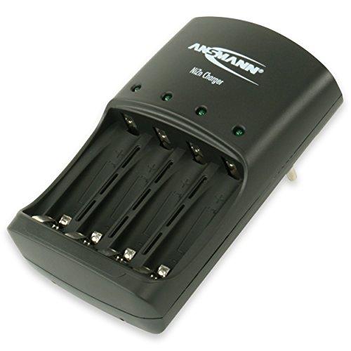 ANSMANN Nickel-Zink Ladegerät Akku/Leistungsstarkes 4-fach Ladegerät für 1,6V NiZn AA oder AAA Akkus/Ideal für NiZn Hochleistungsakkus aus Fernbedienungen, Messgeräten, Kameras uvm.