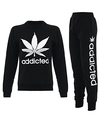 Fast Fashion Frauen Trainingsanzug Addicted Print Sweatshirt joggers Set