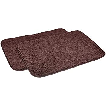 Amazon Brand - Solimo Anti-Slip Microfibre Bathmat, 40cm x 60cm - Pack of 2 (Brown)