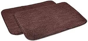 Amazon Brand - Solimo Anti-Slip Microfibre Bathmat, 40cm x 60cm - Pack of 2 (Brown)