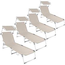 TecTake 800143 - Ensemble de 4 Chaise Lounge en Aluminium, Pare-Soleil réglable en continu, Résiste aux intempéries - Diverses Couleurs au Choix (Beige | No. 401552)