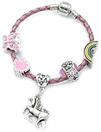 Children's Pink Leather 'Unicorn' Charm Bracelet with Gift Box Girls Jewellery