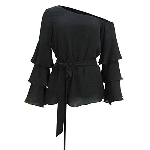 Kword Camicia Donne Flare Manica T-Shirt Off Spalla Chiffon Camicia Casual Camicetta Top Sciolto camicia donna nero