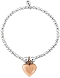Trink Brand Heart of Gold Sterling Silver and Gold Plated Beaded Charm Bracelet