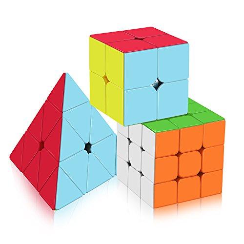 Roxenda Speed, Magic - Juego de 2 puzles de 3 x 3 x 3 pirámide, 3 en 1