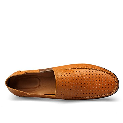 Shenn Homme Conduire Une Voiture Glisser Sur Confort Cuir Mocassins Chaussures Marron1