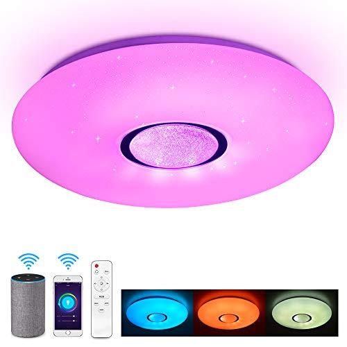 JDONG Deckenleuchte kompatibel mit Alexa und Google Home 36W, Ø 50CM,Farbwechsel, Sternen, dimmbar, Warmweiss- Kaltweiss, 2800-6500 Kelvin, RGB Umgebungslicht, Nachtlicht