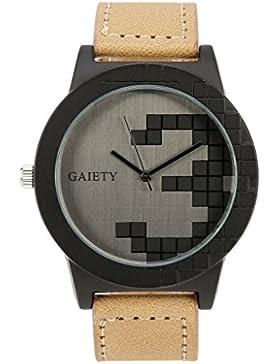 JSDDE Uhren,Modische Zeitloses Design Armbanduhr Karo Graviert