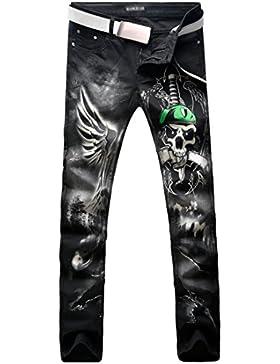 jeansian Moda Pantaloni Casual Uomo Stampa la Cranio ala Jeans Cool Skinny Denim Pants MJB106