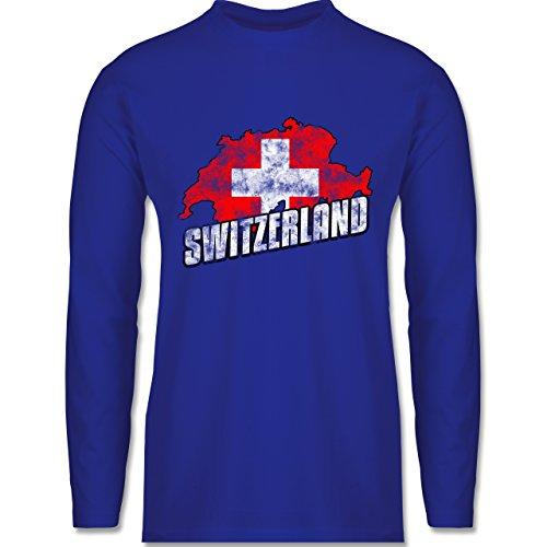 Shirtracer Fußball-WM 2018 - Russland - Switzerland Umriss Vintage - Herren Langarmshirt Royalblau