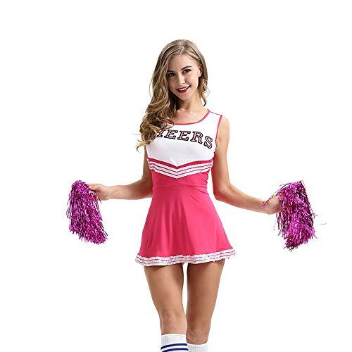 ZQ Cheerleader Kostüm Uniform Kostüm Frauen High School Musical Cheerio Klassisch Athletisch Sport Kostüm,Pink,M