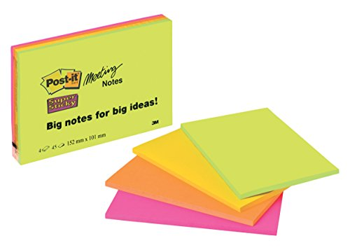 Post-it 6445-4SS Haftnotiz Meeting Notes (152 x 101 mm) 4 Block, neongrün/-orange, ultrapink/-gelb