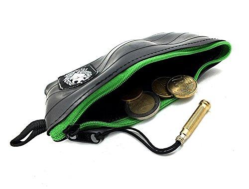 KLEIN GELDBEUTEL in vielen Farben   Kleiner Geldbeutel Herren   Hergestellt aus Recycelten Fahrradschlauch   Super Weich + Extrem Langlebig (ApfelGrün / Apple Green, Muster: FLICKEN)