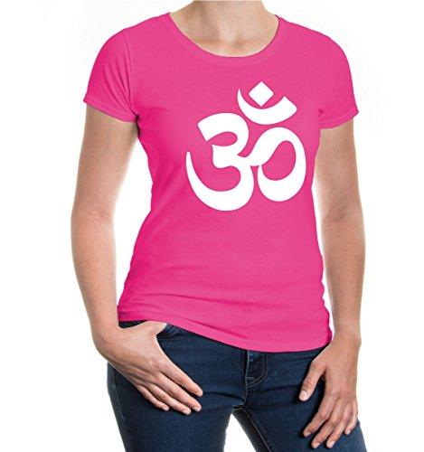 Zeichen Damen Schnitt T-shirt (buXsbaum® Damen Kurzarm Girlie T-Shirt bedruckt Om-Zeichen | Indien Meditation Hinduismus | M fuchsia-white Rosa)