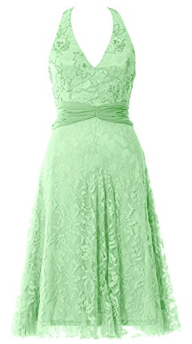 MACloth Women Halter Beaded Lace Short Formal Cocktail Party Dress Evening Gown Minze