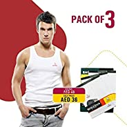 Men's Comfortable Undershirt (Sleeveless) - Premium Quality Men's Vest, Made of 100% Combed Cotton - Pack