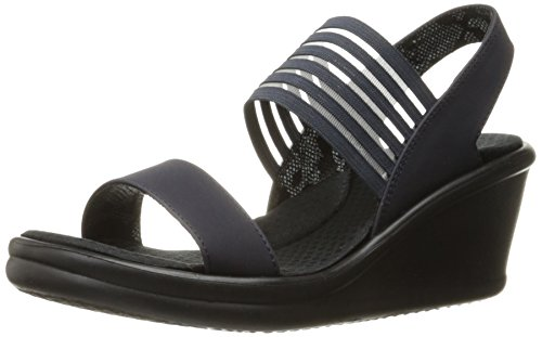 Skechers Cali Femme Rumbler Poster Wedge Sandal Bleu Marine