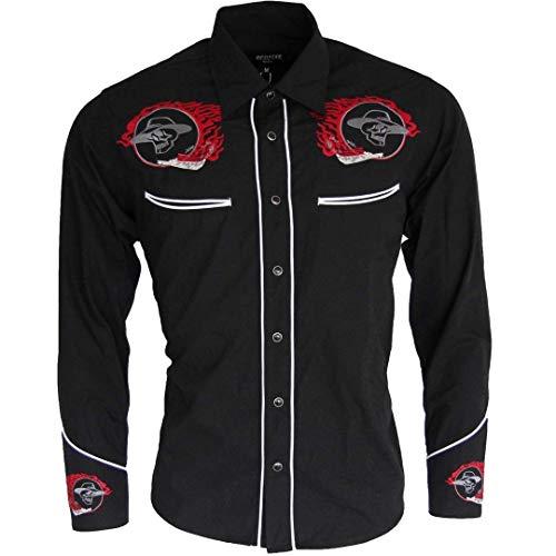 Relco Negro Motero Oeste Cowboy Vaquero Calavera Llama Bordada Camisa Hombre, Negro, XXL