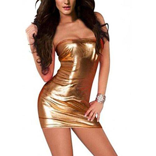 SING Dessous Frauen Wetlook Sexy Minikleid Off-Schulter Ärmelloses Kleid Stretch Clubwear Verführerischer Stripperkleid Fetisch Party Dress Leather Pole Dance Bodycon (Gold) (School Girl-kostüm Für Halloween)