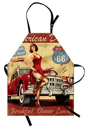 Schürze der Route 66, American Diner-Werbeplakat mit sexy Mädchen Kunst, Unisex-Küchenschürze mit verstellbarem Hals zum Kochen Backen im Gartenbau, Senf rot -