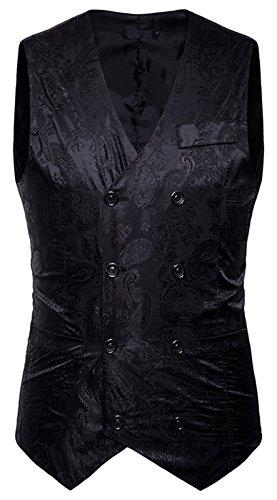 Whatlees Herren Schmale Weste aus strukturiertem Material in Versch.Farben B933-Black