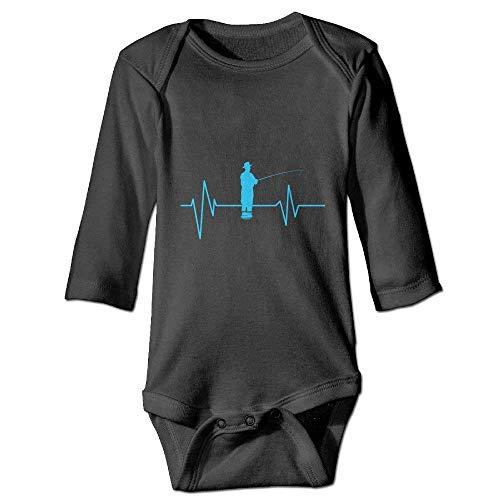 Monicago Neugeborenes Baby-Jungen-Mädchen-Bodysuit-Lange Hülse, Fishing Heartbeat Baby Unisex Bodysuits Onesies Long Sleeve