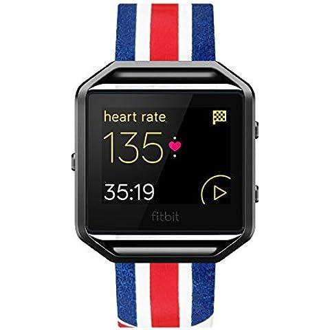 Fitbit Blaze Cinturino, Moonmini® Sostituzione Genuine Leather Watch Band cinturino con telaio in metallo per Fitbit Blaze -