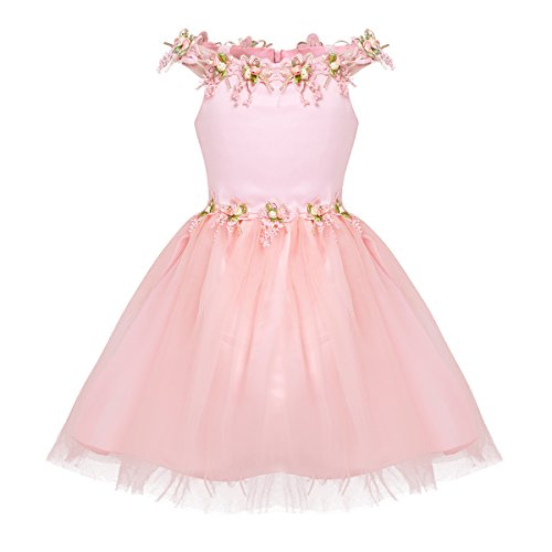 Agoky Baby Mädchen Prinzessin Kleid Blumenmädchenkleid Taufkleid Festlich Kleid Hochzeit Partykleid Festzug Babybekleidung gr. 74-128 Rosa 116-122(Brust 60cm)