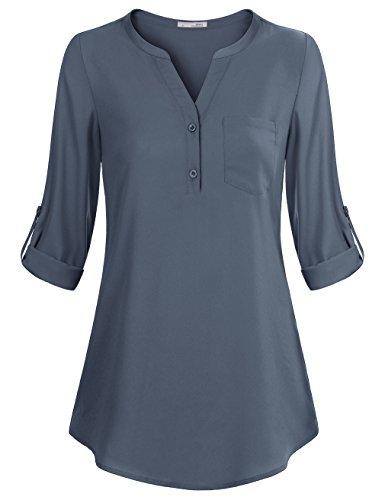 Messic Freizeit Weite Damen Bluse, Damen Soft Enger V Ausschnitt Chiffon Einstellbar Ärmel Beruf Tunika Shirt (XXL,Blaugrau)