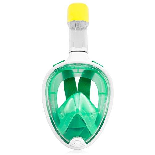 TECHMAX Schnorcheln Maske Volles Gesicht Grün S/M