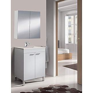 HABITMOBEL Mueble de baño-Aseo pequeño Espejo CAMERINO Incluido y lavamanos cerámico, 2 Puertas 50 Ancho x 80 Alto x 40 Profundidad