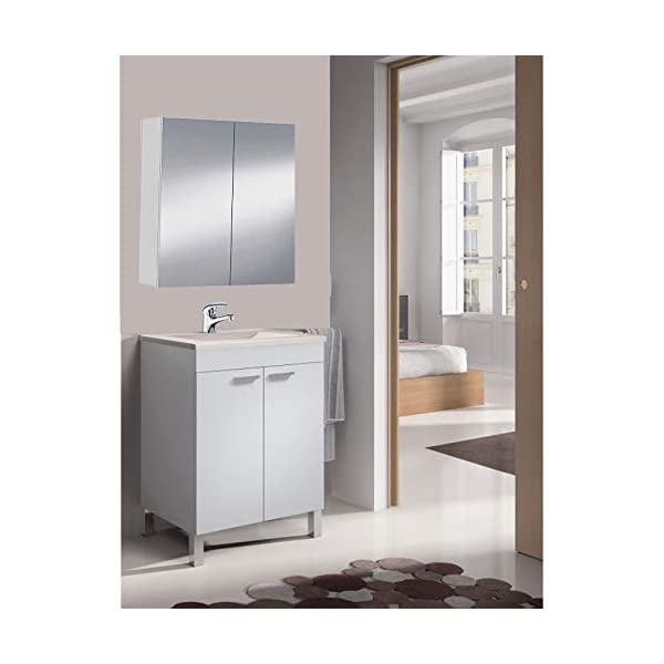 HABITMOBEL Mueble de baño-Aseo pequeño Espejo CAMERINO Incluido y lavamanos cerámico, 2 Puertas 50 Ancho x 80 Alto x 40…