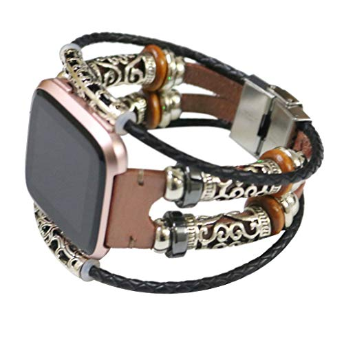 Karinao Für Fitbit Versa Armband Damen, Fitbit Versa Armband Perlen Vintage Handgelenk Ersatzband Armbänder Klassisches Armband Uhrenarmbänder Uhrenarmband für Fitbit Versa Uhr(Rose Gold) - Faltschließe Fitbit-armband