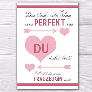 """A6 Postkarte """"Willst du meine Trauzeugin sein?"""" in weiß/rosa Glanzoptik Papierstärke 235 g / m2 Geschenk für Schwester…"""