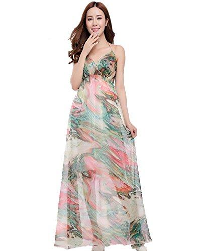 Moollyfox Femme Maxi Robe en Mousseline de Soie Floral Imprimé Halter Sexy Col V Grande Taille de Robe de Plage Vert