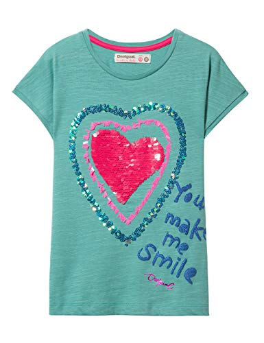 Desigual Mädchen Girl Knit Short Sleeve (TS_Missouri) T-Shirt, Türkis (Turquoise 5013), 152 (Herstellergröße: 11/12) -