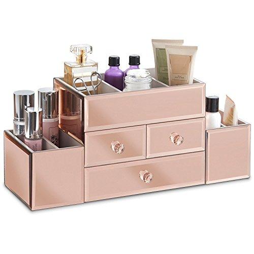 Beautify boite à bijoux Rose-or avec côtés en miroirs et Organiseur à maquillage avec 3 tiroirs, 7 compartiments de rangements et un revêtement en, inclus un tissu nettoyant pour miroirs
