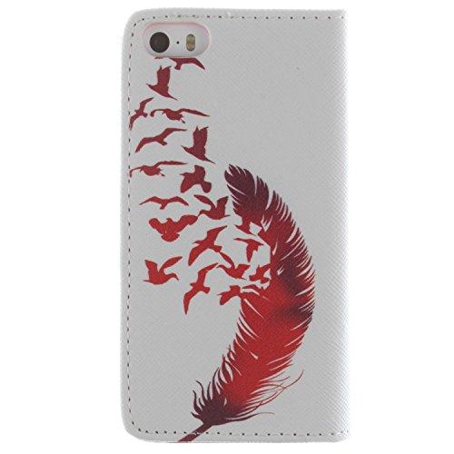 CaseLike Colored disegno Premium PU Pelle Flip Custodia Protettiva Case Cover Per Apple iPhone 55S Wallet con Card Slots & Cash Scomparto, Supporto dual Shell iphone55s#1 iphone55s#127
