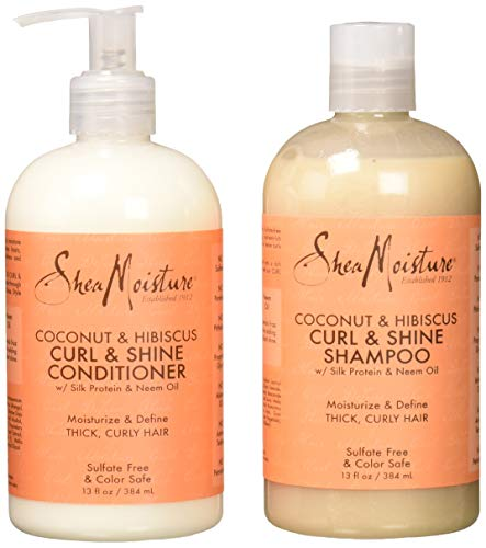 Shea Moisture Coconut & Hibiscus Curl & Shine Shampoo and Conditioner Set W/silk Protein and Neem Oil 13 Oz Bottles by Shea Moisture (Safe Natural Shampoo All Color)