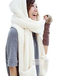 Decus 3-in-1 Fashion Multifunktions-Schal(Mütze,Handschuhe) Damen Winter Schal Super Warm DLH (Weiß #2)