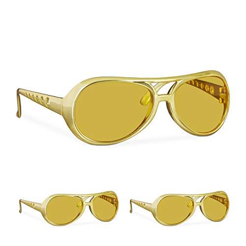 Gold Kostüm Elvis - Relaxdays 3 x Elvis Brille, lustige Rapper & Proll Brille, Kostüm, große Zuhälter Brille für Karneval und Mottopartys, gold
