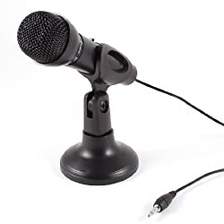 Banggood Omnidirectional Laptop Pc Computer 3.5Mm Network Stand Mini Microphone Mike Black