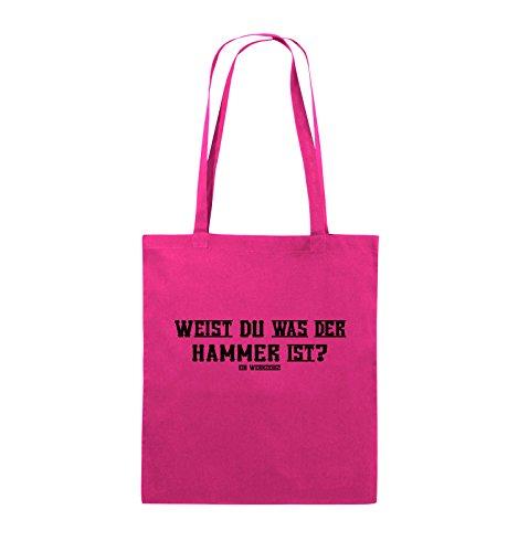Comedy Bags - WEIST DU WAS DER HAMMER IST? - Jutebeutel - lange Henkel - 38x42cm - Farbe: Schwarz / Silber Pink / Schwarz