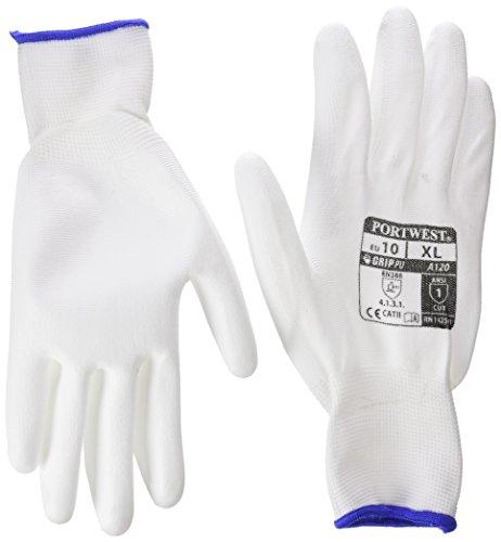 12 Paar Arbeitshandschuhe PU-Montagehandschuhe Mechanikerhandschuhe Nylon Portwest schwarz, weiß, grau - Größe 7 8 9 10 11 (10 / XL, Weiß) Kurze Schwarze Nylon-handschuhe