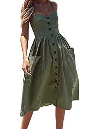 Mujer sin Mangas Vestido - Sexy Fuera del Hombro Vestidos con Botón Moda Color Sólido Playa