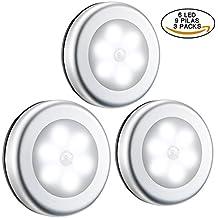 3 Luces del Sensor de Movimiento con Pilas Reemplazables de OMorc, Se Fija a Cualquier Lugar,Perfecto para Sótano, Estudio, Garaje, Trastero, Armario Etc.(3 Packs, 6 LED, Lleva 9 Pilas, Blanca)